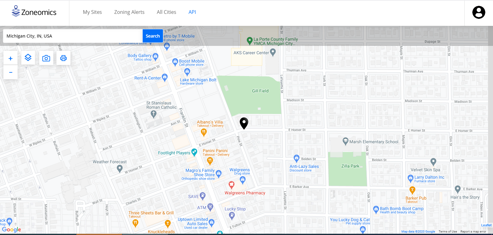 Example of search on zoneomics maps platform
